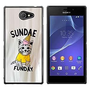 Be Good Phone Accessory // Dura Cáscara cubierta Protectora Caso Carcasa Funda de Protección para Sony Xperia M2 // Sundae Fun Day Sunday Kitten Ice-Cream
