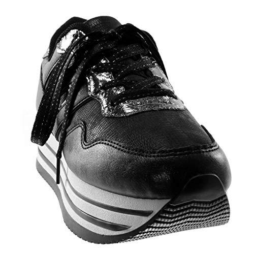 Compensée Brillant Talon Tennis 4 Plateforme Noir Chaussure Compensé xwCqTaI