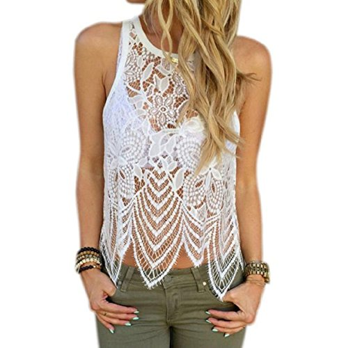 Vovotrade Women Lace Crochet Vest Casual Sleeveless Blouse (US:10)
