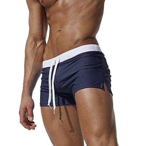 VEEWOO Men's Beach Swimming Trunks Boxer Brief Swimsuit Swim Underwear Boardshorts with Zipper Pocket(Dark Blue,M) by VEEWOO