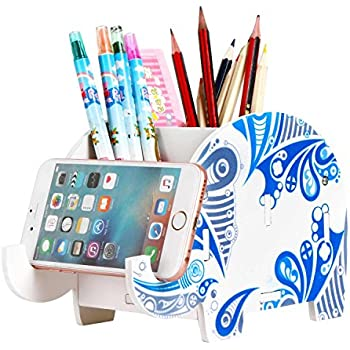new arrivals cf234 e177d Cell phone Stand,Wood Elephant Pen Holder with Phone Holder Desk ...