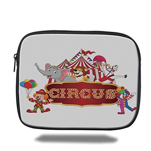 (Laptop Sleeve Case,Circus Decor,Cute Happy Fun Trained Circus Animals with Nostalgic Tent Carnival Party Show Art,Red White,iPad Bag)