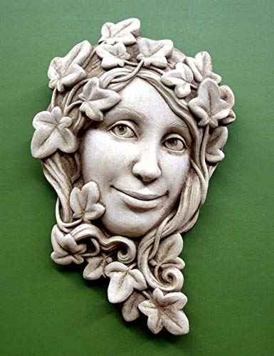 KensingtonRow Home Collection Garden PLAQUES -The Ivy Maiden Stone Wall Sculpture - Aged Stone Finish
