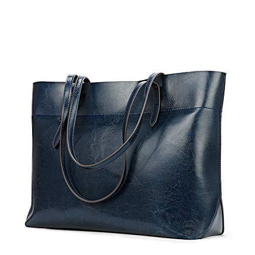 Kattee Vintage Genuine Leather Tote Shoulder Bag for Women Satchel Handbag with Top Handles