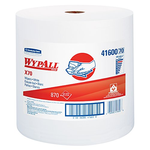 WypAll X70 Extended Use Reusable Cloths (41600), Jumbo Roll, Long Lasting Performance, White, 1 Roll, 870 Sheets from Kimberly-Clark Professional