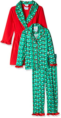 Bunz Kidz Little Girls' Christmas Lights Robe and 2pc Pajama Set