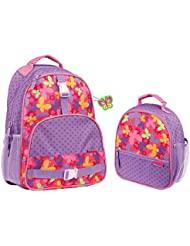Stephen Joseph Girls Butterfly Print Backpack and Lunch Box with Charm