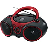 JENSEN CD-490 Portable Stereo CD Player with AM/FM Radio and Aux Line-In, Red and Black photo