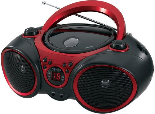 JENSEN CD-490 Portable Stereo CD Player with AM/FM Radio and Aux Line-In, Red and Black (Outdoor Boombox)