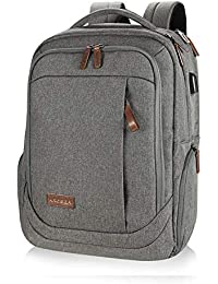 Laptop Backpack Large Computer Backpack Fits up to 17.3 Inch Laptop with USB Charging Port Water-Repellent School Travel Backpack Casual Daypack for Business/College/Women/Men-Grey