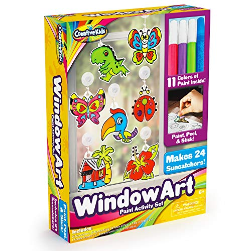 Window Paint Art Stickers Kit Kids - Children's Make Your Own Fun Suncatchers Set - [24] Sun Catchers, [24] Suction Cups & [11] Paints - DIY Car Window & Mirror Arts & Crafts Kit Children