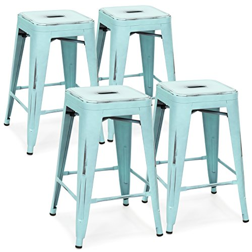 Bistro Set Counter Height (Best Choice Products 24in Set of 4 Stackable Modern Industrial Distressed Metal Counter Height Bar Stools - Blue)