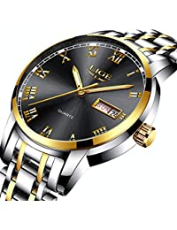 Watches Men Waterproof Stainless Steel Analogue Quartz Wrist Watch for Man Business Dress Date Simple Watch Black Gold Clock