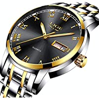 LIGE Watches Men Waterproof Stainless Steel Analogue Quartz Wrist Watch for Man Business Dress Date Simple Watch Black Gold Clock