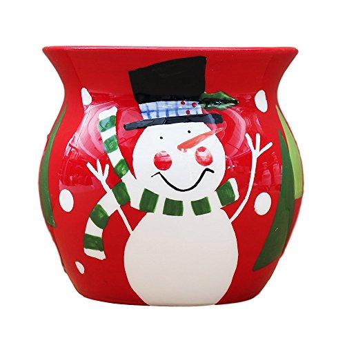 Hand Painted Ceramic Snowman - SALE! Christmas Snowman, Hand Painted Ceramic Collection **Get Them All** (Red Tart Burner)