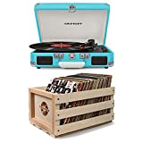 crosley cruiser ii turntable - Bundle Includes 2 Items - Crosley CR8005D-TU Cruiser Deluxe Portable 3-Speed Turntable with Bluetooth, Turquoise and Crosley AC1004A-NA Record Storage Crate Holds up to 75 Albums, Natural