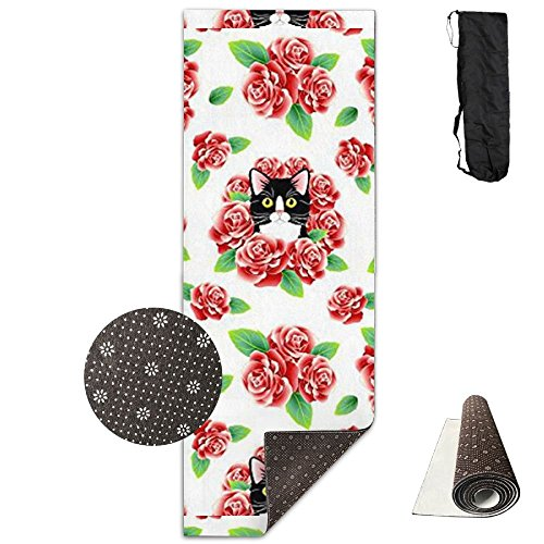 KJDHAPI2 Tuxedo Cat And Roses Single Side Print Yoga Mat With Carrying Strap For Fitness,Travel And Yoga Class by KJDHAPI