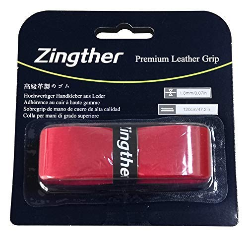 Zingther Premium PU Leather Replacement Tape Grips for Tennis Racket, Badminton/Squash/Racquetball Racquet, Baseball Bat, Pickleball Paddle -Tacky, Soft, Comfortable, Ultra Cushion (Red, 2 Grips) ()