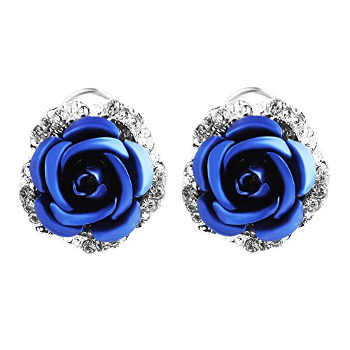 Ownsig Womens Delicate Rose Flower Rhinestone Ear Stud Earrings Blue ()