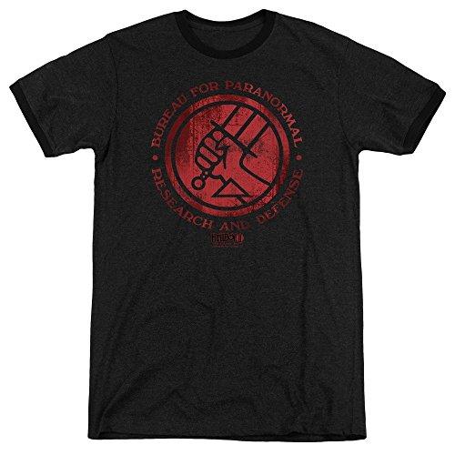 Sons of Gotham Hellboy Ii - BPRD Logo Adult Ringer T- Shirt XL