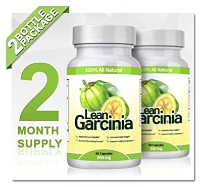 Lean Garcinia Cambogia Extract - 2 Bottles (Featuring Lean Clinically-proven, Multi-patented 60% HCA Extract for Weight-loss & Appetite Control) 1,000 Mg Per Serving by Lifestyle Research Labs