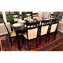 "Formal 9 Piece - 8 Person Butterfly Extension Table 42"" x 78"" and Chairs Dining Dinette - 150235 Espresso Brown and Beige Chair"