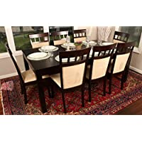Formal 9 Piece - 8 Person Butterfly Extension Table 42 x 78 and Chairs Dining Dinette - 150235 Espresso Brown and Beige Chair