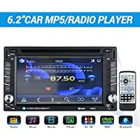 Masione Bluetooth Car Audio Radio MP5 Player - 6.2 Inch Touch Screen with 2 DIN In Dash - Suitable for Hands-Free Calling, Movie, Music, Photo, DVD, AV IN, USB TF Card and Wireless Remote Control