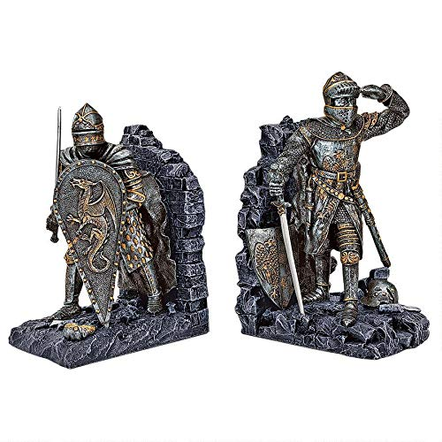 Design Toscano Arthurian Knight Medieval Decor Bookend Statues, 8 Inch, Set of Two, Grey Stone