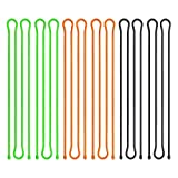 Scratch(TM) Reusable Rubber Cords,twist Ties—Cable Manager and Cord Keeper For Travel,Organize Electronics Assorted Colors(Black,Green,Orange) 6 Pack (24 Inches)