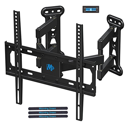 Mounting Dream Full Motion Corner TV Wall Mount Bracket for Most 26-50 Inch LED, LCD, OLED Flat Panel Screen TV, Mount with Swivel Articulating Arms up to VESA 400x400mm and 99 LBS with Tilting MD2501 ()