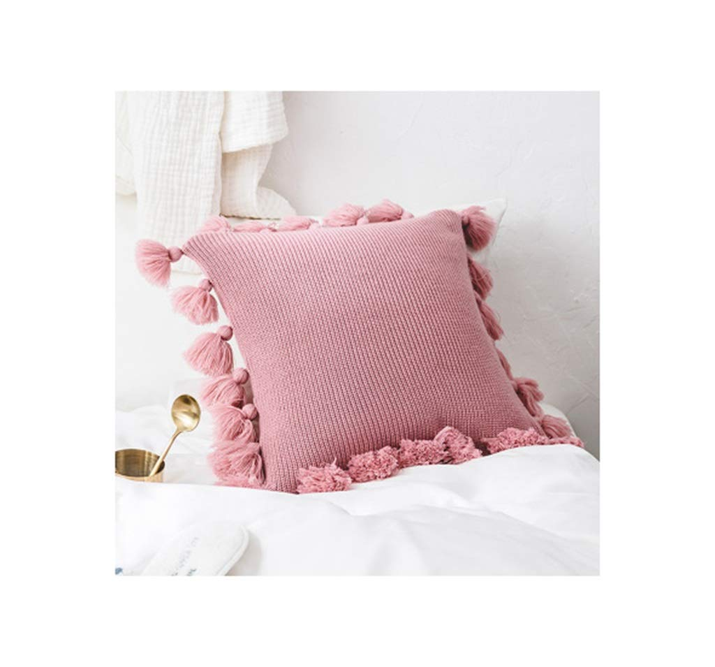 Lifangzhijia Soft Cotton Pillowcase Solid Color Princess Pillow Fringe Pillow Suitable for Home hotle (4545cm) (Color : Pink) by Lifangzhijia