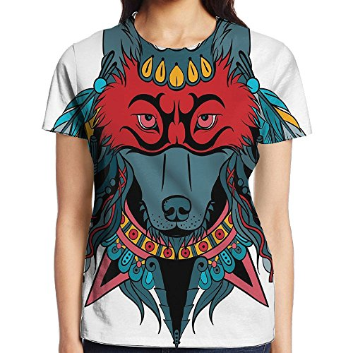 WuLion Ethnic Warrior Wolf Portrait with Mask Feathers Native American Animal Art Women's 3D Print T Shirt XL White
