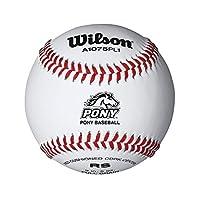 Béisbol con costura levantada Wilson Pony League (paquete de 12), blanco