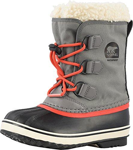 SOREL Girls' Children's Yoot Pac Nylon Snow Boot, Quarry, Sail Red, 10 M US Little Kid (Pac Yoot Boots Winter)
