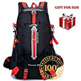 Hiking Backpack Small – 40 Liter Weekend Daypack for Youth Boys Men, Ultra Light Waterproof Overnight Camping Trip Rucksack Cycling Carry on Pack, Birthday Valentines Father's Day Gift for Him Black