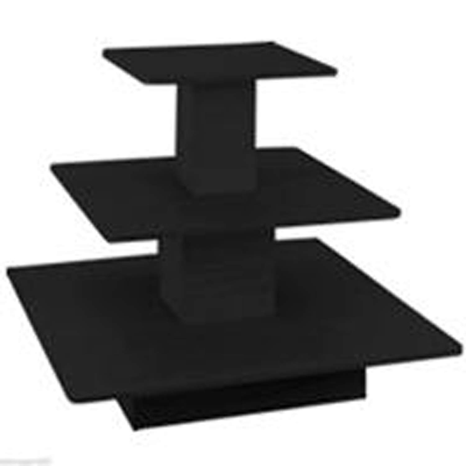 3 Tier Display Table Square Boutique Clothing Store Wood Fixture Black New