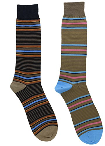 (Tallia Men's Cotton Dress Socks Gift Set (2Pr) (Brown, Beige Micro Stripes))