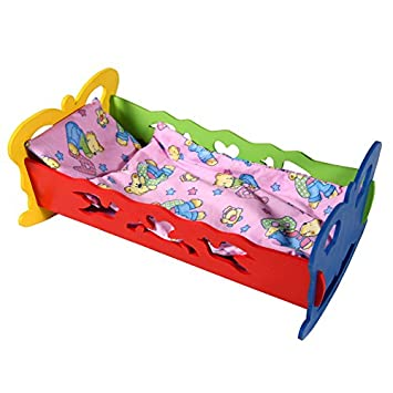 Multi-Color Tupiko KS Medium Wooden Cradle with Bolster for Dolls