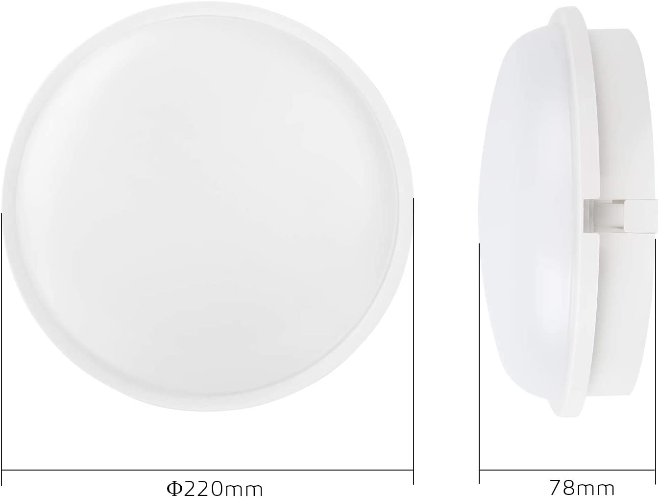 L/ámpara LED para Pared y Techo Luz Nocturna LED Circular 20W 3000K IP65 de Luz Suave para Interiores Exteriores Corredor Ba/ño Jard/ín Taller