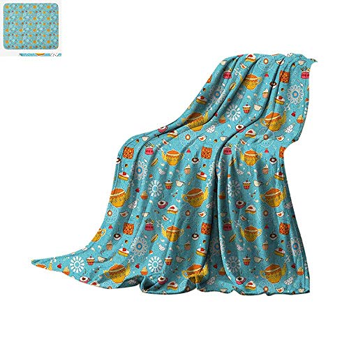- Tea Party Warm Microfiber All Season Blanket Drawing Style Lovely Elements Floral Motifs and Cute Birds Muffins Latte Summer Quilt Comforter 50