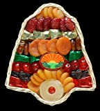 Garry's Dried Fruit Packs 1 Pounds Holiday Bell Tray Christmas Hanukkah Holiday Thanksgiving Dried Fruits Basket