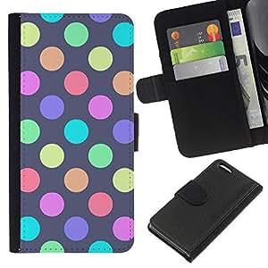 All Phone Most Case / Oferta Especial Cáscara Funda de cuero Monedero Cubierta de proteccion Caso / Wallet Case for Apple Iphone 5C // Vibrant Pastel Polka Dot Purple