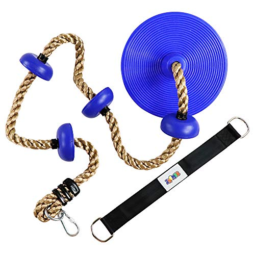 ZNCMRR Climbing Rope with Platforms and Dis Swing Seat Set Accessory Including Bonus Hanging Strap & Carabiner Blue ()