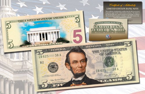 LINCOLN MEMORIAL DAY VERSION Genuine Legal Tender COLORIZED 2-Sided $5 US (5 Legal Tender Note)