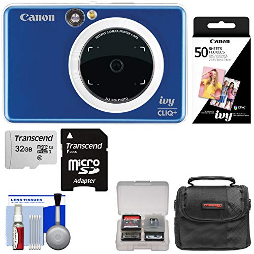 - Canon Ivy Cliq+ Instant Digital Camera Printer & App via Bluetooth (Sapphire Blue) with 32GB Card + 50 Color Prints + Case + Kit