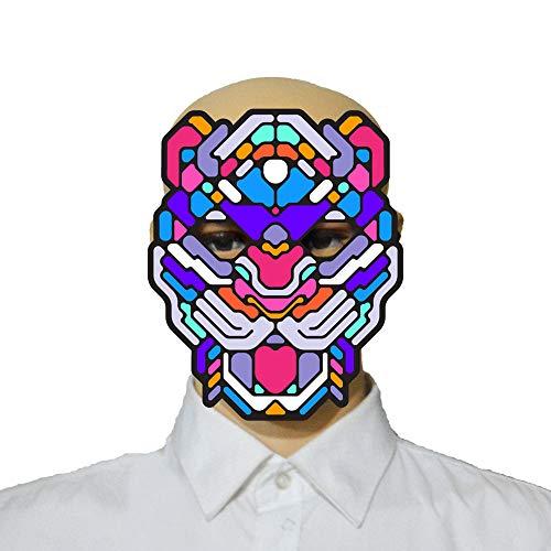 Halloween Sound Reactive Full Face LED Light Up Mask Dance Rave EDM Plur Halloween Festivals Party (Multicolor, Adult Size (Full face))