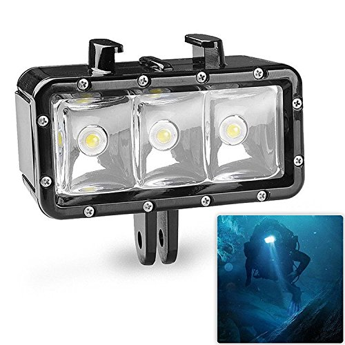 First2savvv GO-BGD-B02 3 LED Flash Dimmable Diving Light Underwater 40m Waterproof Diving Light Mount Kit for Gopro Hero 6 5 4 Session, 4, 3+, 3, 2, 1, Xiaomi Yi SJ4000/5000/6000/7000