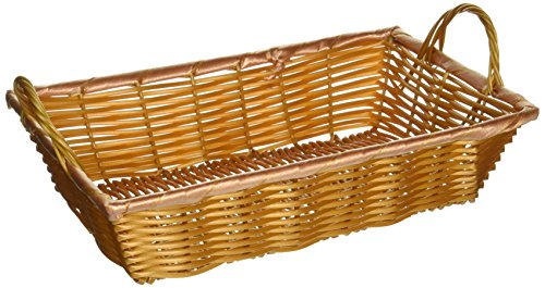 Rectangular Woven Basket with Handles, 12-Inch by 8-Inch by 3-Inch