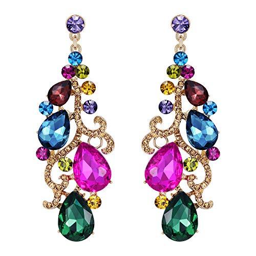 Multi Earrings Color Chandelier - Flyonce Women's Crystal Wedding Bridal Floral Vine Teardrop Chandelier Earrings Multicolor Gold-Tone
